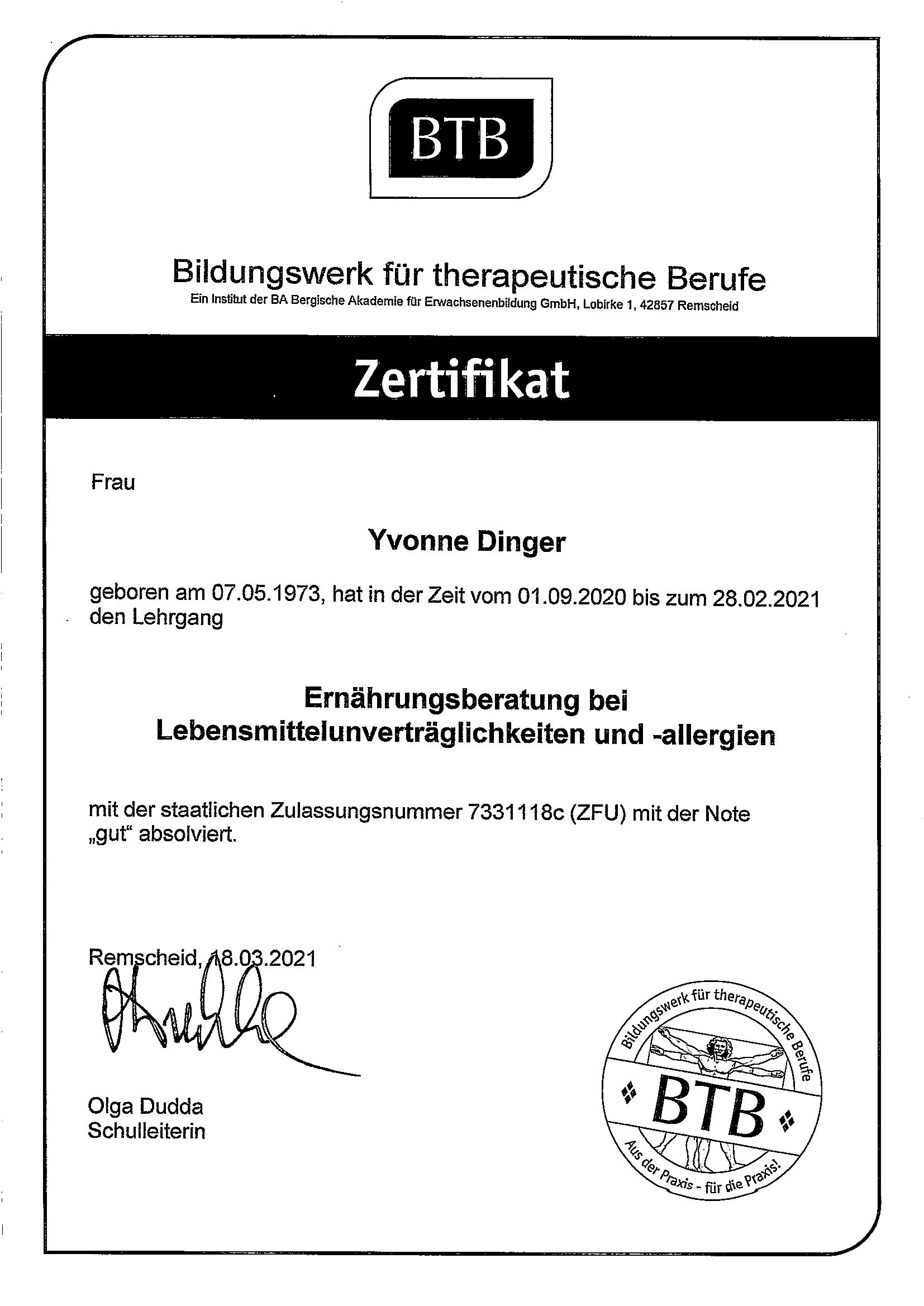 Zertifikat Ernährungsberatung Yvonne Dinger Lebensmittelunverträglichkeit