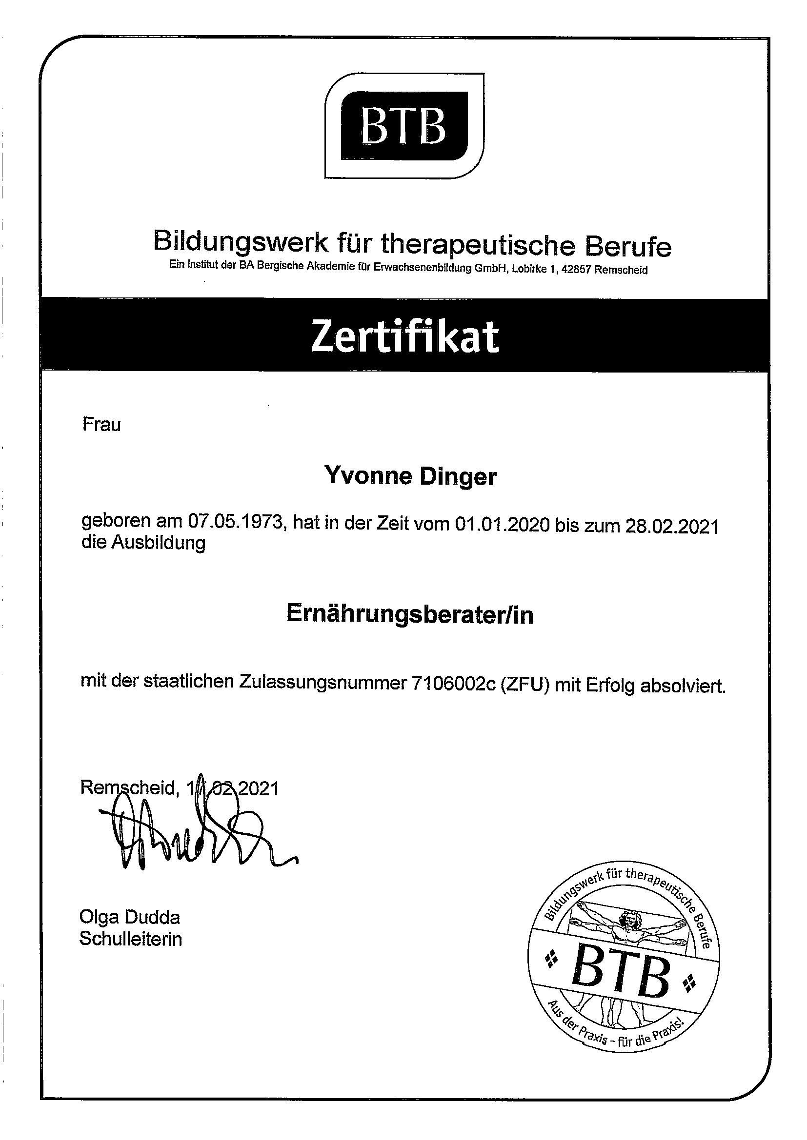 Zertifikat Ernährungsberaterin Yvonne Dinger